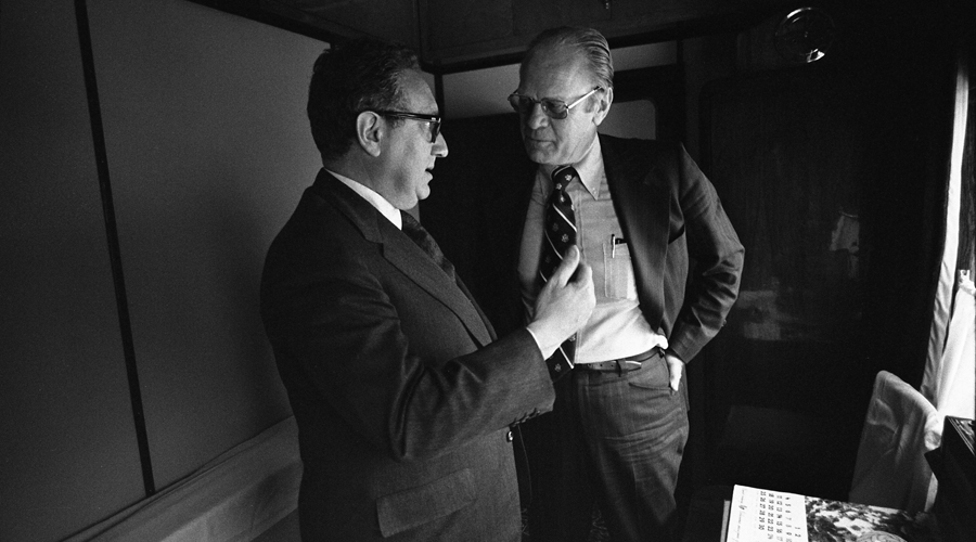 President_Ford_and_Secretary_of_State_Henry_Kissinger_confer_on_train_-_NARA_-_7161383_Gerald R. Ford Presidential Library